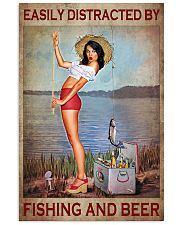Easily Distracted By Fishing And Beer Poster - Poster For Fishing And Beer Lovers - Home Decor - No Frame Full Size 11x17 16x24 24x36 Inches 11x17 Poster front