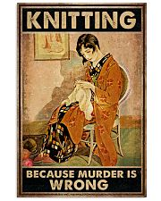 Knitting Because Murder Is Wrong Vintage Poster - Poster For Knitting Lovers - Home Decor - Wall Art - No Frame Full Size 11x17 16x24 24x36 Inches 11x17 Poster front