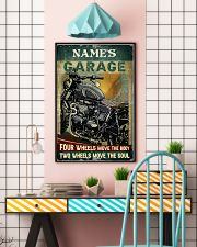 Name's Garage Four Wheels Move The Body Two Wheels Move The Soul Customized Poster - No Frame Full Size 11x17 16x24 24x36 Inches 11x17 Poster lifestyle-poster-6
