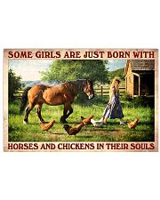 Some Girl Are Just Born With Horses And Chickens In Their Souls Girl Vintage Art Poster Birthday Christmas Gift 17x11 Poster front