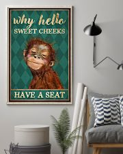 Why Hello Sweet Cheeks Have A Seat Poster - Monkey Funny Toilet Poster - Bathroom Decor - No Frame Full Size 11x17 16x24 24x36 Inches 11x17 Poster lifestyle-poster-1