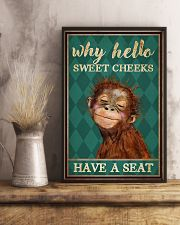 Why Hello Sweet Cheeks Have A Seat Poster - Monkey Funny Toilet Poster - Bathroom Decor - No Frame Full Size 11x17 16x24 24x36 Inches 11x17 Poster lifestyle-poster-3