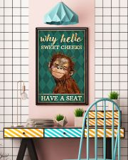 Why Hello Sweet Cheeks Have A Seat Poster - Monkey Funny Toilet Poster - Bathroom Decor - No Frame Full Size 11x17 16x24 24x36 Inches 11x17 Poster lifestyle-poster-6