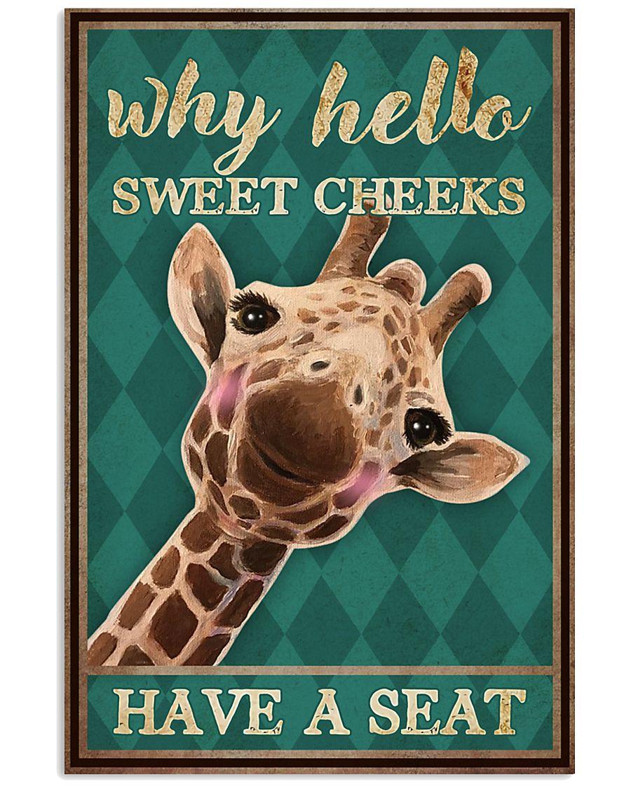 Giraffe why hello sweet cheeks wall art poster