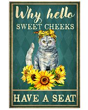 Why Hello Sweet Cheeks Have A Seat Poster - Cat And Sun Flower Funny Toilet Poster - Bathroom Decor - No Frame Full Size 11x17 16x24 24x36 Inches 11x17 Poster front