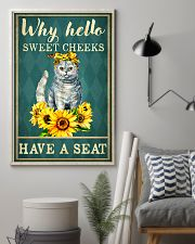Why Hello Sweet Cheeks Have A Seat Poster - Cat And Sun Flower Funny Toilet Poster - Bathroom Decor - No Frame Full Size 11x17 16x24 24x36 Inches 11x17 Poster lifestyle-poster-1