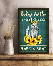 Why Hello Sweet Cheeks Have A Seat Poster - Cat And Sun Flower Funny Toilet Poster - Bathroom Decor - No Frame Full Size 11x17 16x24 24x36 Inches 11x17 Poster lifestyle-poster-3