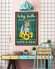 Why Hello Sweet Cheeks Have A Seat Poster - Cat And Sun Flower Funny Toilet Poster - Bathroom Decor - No Frame Full Size 11x17 16x24 24x36 Inches 11x17 Poster lifestyle-poster-6
