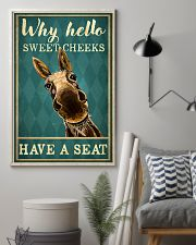 Why Hello Sweet Cheeks Have A Seat Poster - Donkey Funny Toilet Poster - Bathroom Decor - No Frame Full Size 11x17 16x24 24x36 Inches 11x17 Poster lifestyle-poster-1