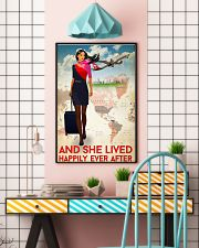 And She Lived Happily Ever After Flight Attendant Poster - Home Decor - No Frame Full Size 11x17 16x24 24x36 Inches 11x17 Poster lifestyle-poster-6