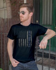Mens Mens Best Dad Ever American Flag Police Classic T-Shirt lifestyle-mens-crewneck-front-2