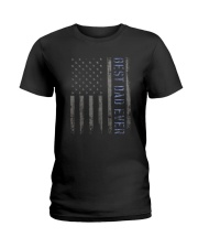 Mens Mens Best Dad Ever American Flag Police Ladies T-Shirt thumbnail