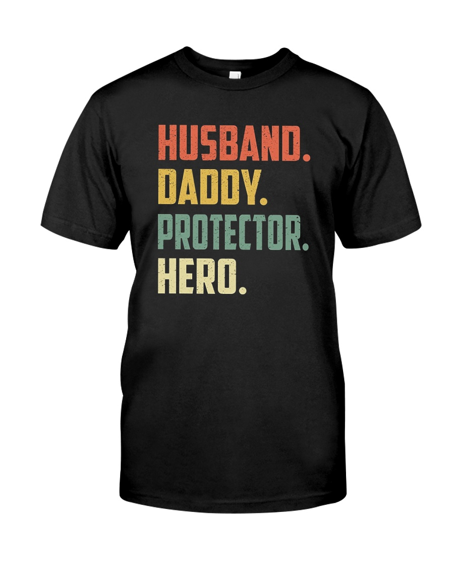 Mens Husband Daddy Protector Hero Shirt Vintage Classic T-Shirt