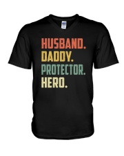 Mens Husband Daddy Protector Hero Shirt Vintage V-Neck T-Shirt thumbnail