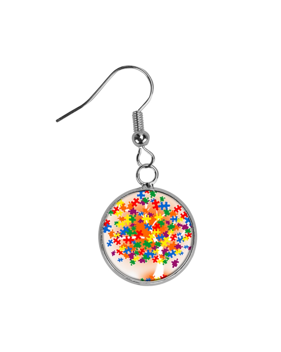 Autism Tree Circle Earrings