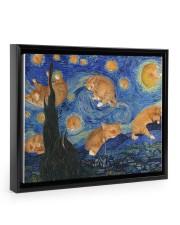 CAT STARRY NIGHT POSTER Floating Framed Canvas Prints Black tile