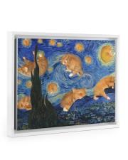 CAT STARRY NIGHT POSTER Floating Framed Canvas Prints White tile