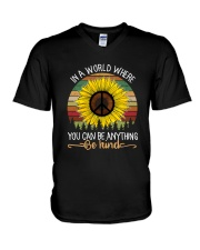 IN A WORLD WHERE YOU CAN BE ANYTHING BE KIND V-Neck T-Shirt thumbnail