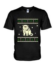 Christmas Exotic Shorthair Cat V-Neck T-Shirt thumbnail