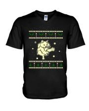 Christmas LaPerm Cat V-Neck T-Shirt thumbnail