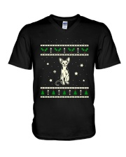 Christmas Sphynx Cat V-Neck T-Shirt thumbnail