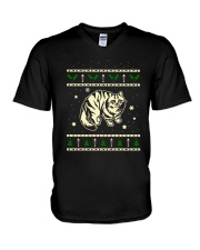 Christmas Siberian Cat V-Neck T-Shirt thumbnail