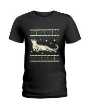 Christmas Russian Blue Cat Ladies T-Shirt thumbnail