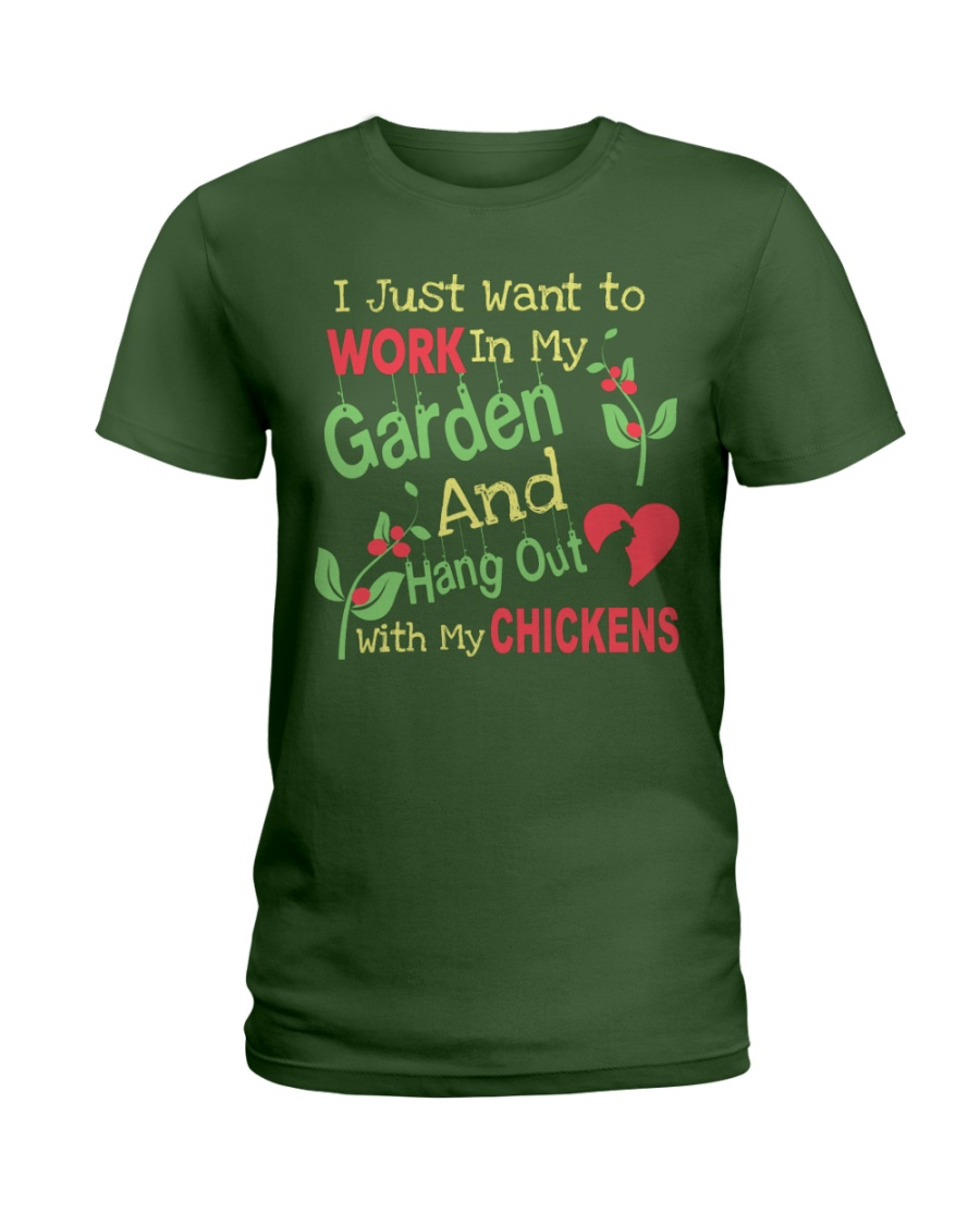 Garden and Chickens Lovers Ladies T-Shirt