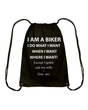 ASK MY BIKER WIFE Drawstring Bag thumbnail