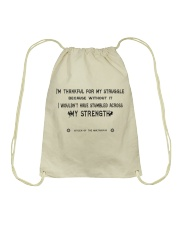 Struggle and Strength Drawstring Bag thumbnail