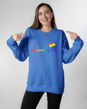 Raninbow Pride LGBTQ EKG Rainbow Heartbeat Crewneck Sweatshirt apparel-crewneck-sweatshirt-lifestyle-front-11