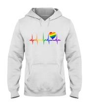 Raninbow Pride LGBTQ EKG Rainbow Heartbeat Hooded Sweatshirt thumbnail