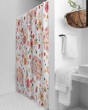 hedgehogs flowers Shower Curtain aos-shower-curtains-71x74-lifestyle-front-03