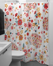 hedgehogs flowers Shower Curtain aos-shower-curtains-71x74-lifestyle-front-04