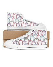 colorful penguins Women's High Top White Shoes outside-right-inside-right