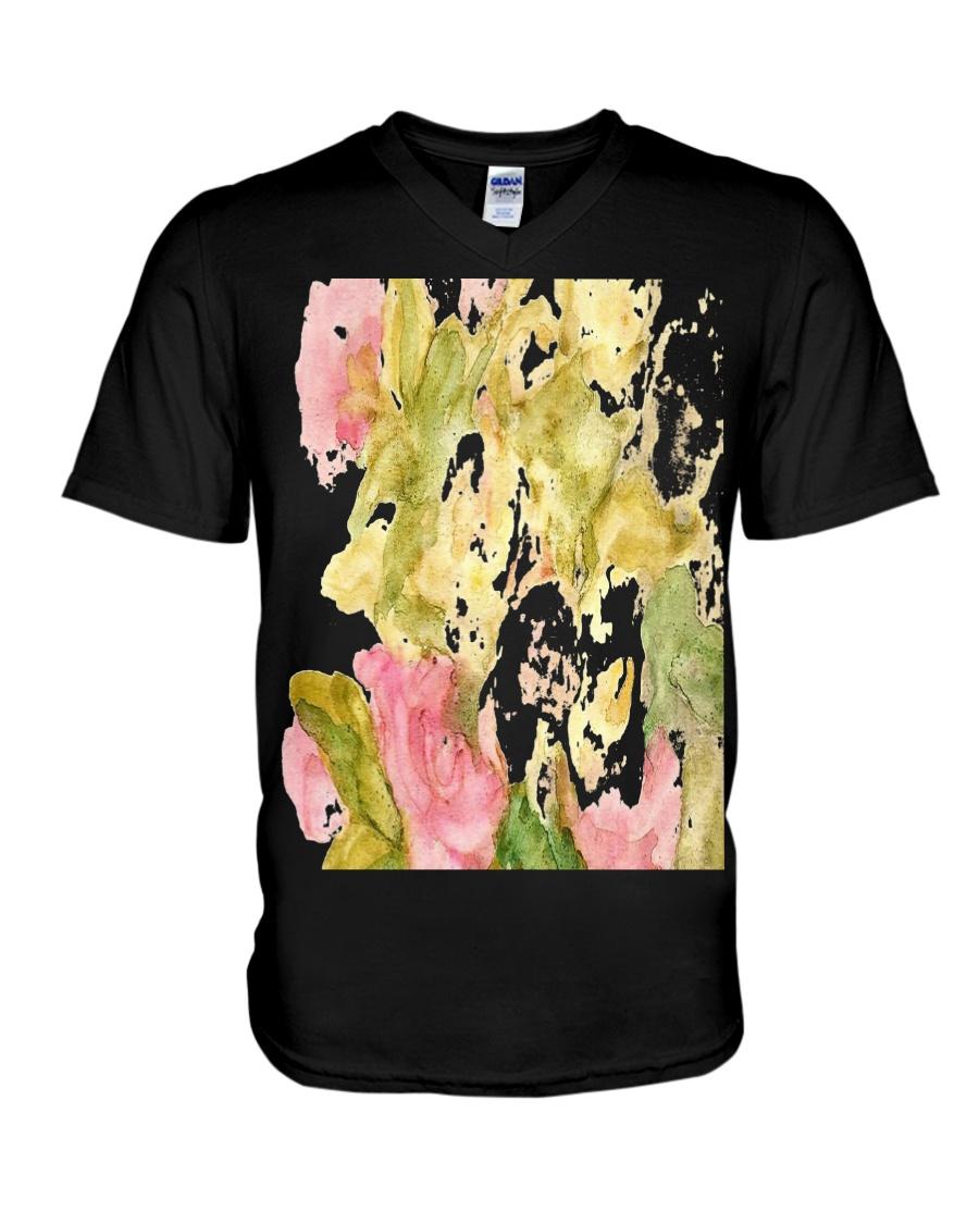 pink roses V-Neck T-Shirt