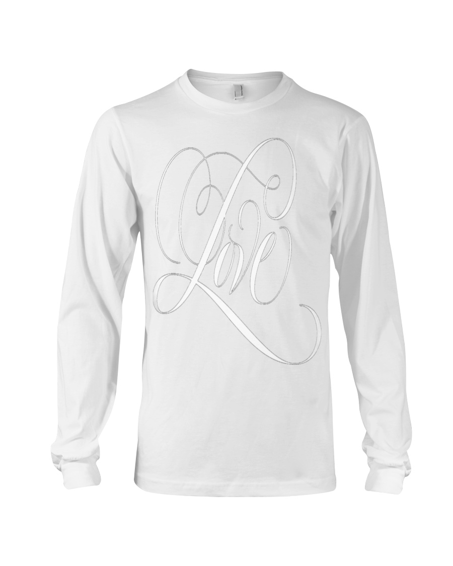 ELEGANT WHITE FLOURISHED LOVE VALENTINE Long Sleeve Tee