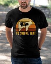 I'd Smoke That Vintage Funny BBQ Grilling Shirt Classic T-Shirt apparel-classic-tshirt-lifestyle-front-50