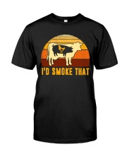 I'd Smoke That Vintage Funny BBQ Grilling Shirt Classic T-Shirt front