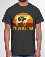 I'd Smoke That Vintage Funny BBQ Grilling Shirt Classic T-Shirt garment-tshirt-unisex-front-03