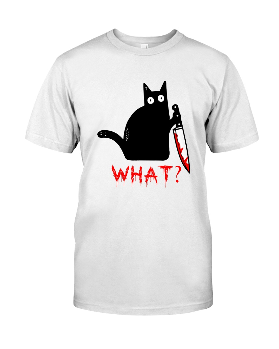 Cat What  Murderous Black Cat With Knife Halloween Classic T-Shirt