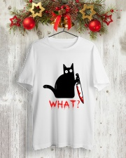 Cat What  Murderous Black Cat With Knife Halloween Classic T-Shirt lifestyle-holiday-crewneck-front-2