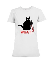 Cat What  Murderous Black Cat With Knife Halloween Premium Fit Ladies Tee thumbnail