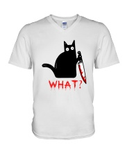 Cat What  Murderous Black Cat With Knife Halloween V-Neck T-Shirt thumbnail