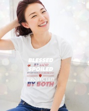 Blessed by God - Spoiled by Veteran husband Ladies T-Shirt lifestyle-holiday-womenscrewneck-front-1
