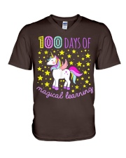 100 days of school magical learning cool t shirt V-Neck T-Shirt thumbnail