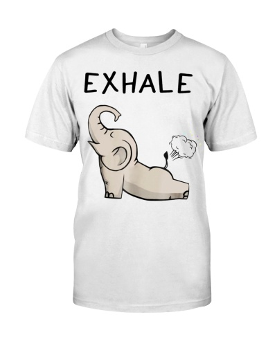 Elephant Exhale yoga funny t shirt