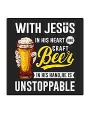 WITH JESUS IN HIS HEART AND CRAFT BEER Square Coaster thumbnail