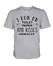 I Run on Toilet Paper and Kisses - Momlife V-Neck T-Shirt thumbnail