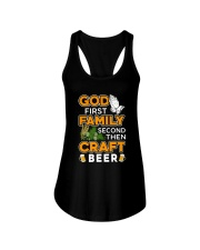 GOD FIRST FAMILY SECOND THEN CRAFT BEER Ladies Flowy Tank thumbnail